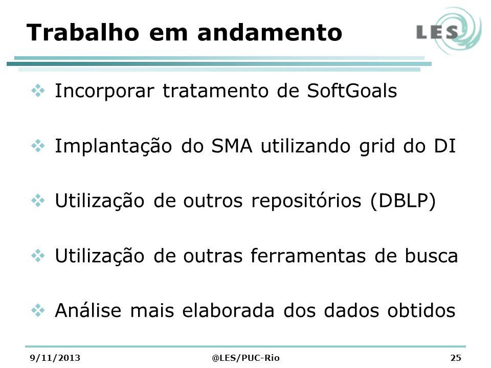Trabalho em andamento Incorporar tratamento de SoftGoals Implantação do SMA utilizando grid do DI Utilização de outros repositórios (DBLP) Utilização