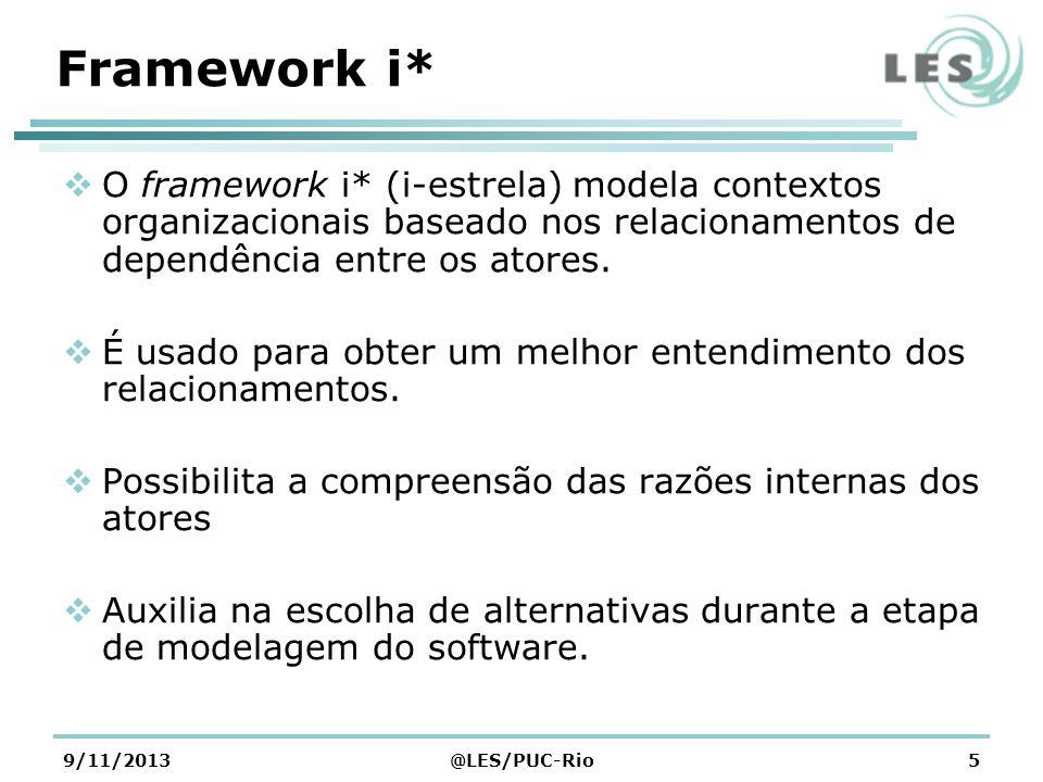 9/11/2013@LES/PUC-Rio5 Framework i* O framework i* (i-estrela) modela contextos organizacionais baseado nos relacionamentos de dependência entre os at