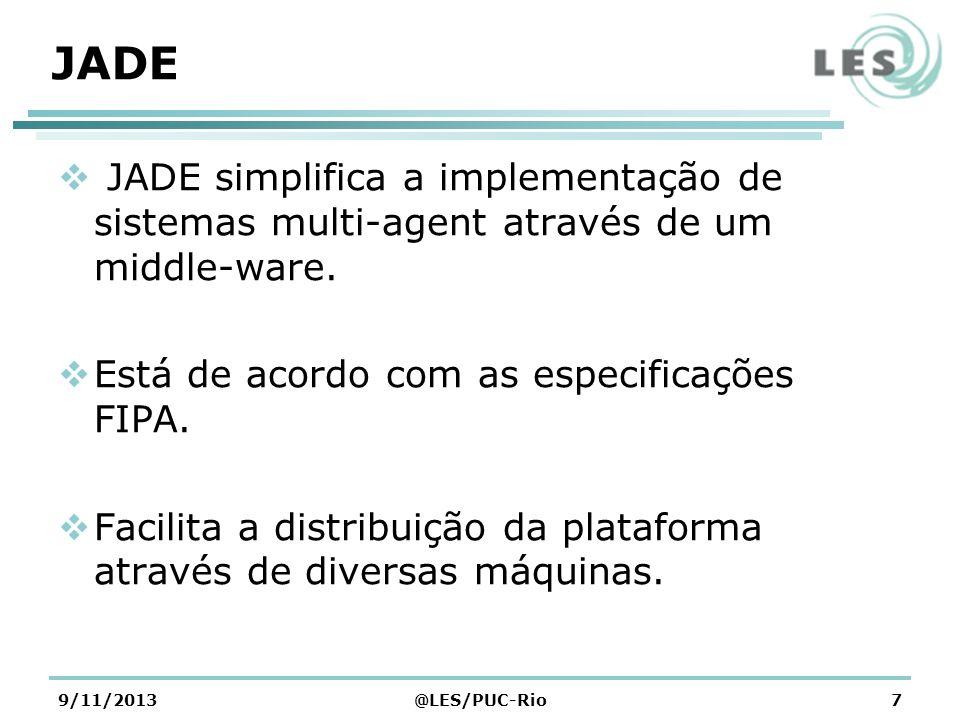 9/11/2013@LES/PUC-Rio7 JADE JADE simplifica a implementação de sistemas multi-agent através de um middle-ware. Está de acordo com as especificações FI