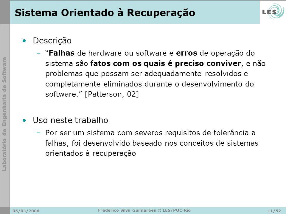 05/04/200611/52 Frederico Silva Guimarães © LES/PUC-Rio Sistema Orientado à Recuperação Descrição –Falhas de hardware ou software e erros de operação