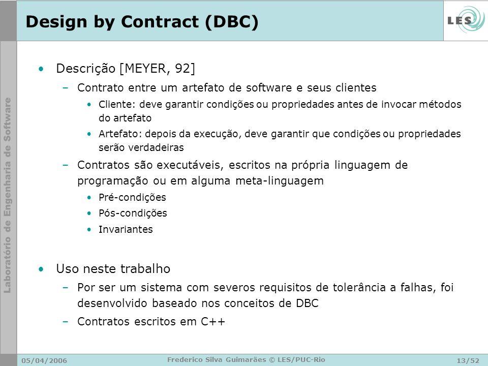05/04/200613/52 Frederico Silva Guimarães © LES/PUC-Rio Design by Contract (DBC) Descrição [MEYER, 92] –Contrato entre um artefato de software e seus