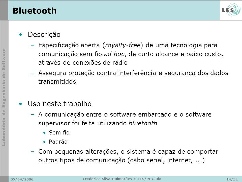 05/04/200614/52 Frederico Silva Guimarães © LES/PUC-Rio Bluetooth Descrição –Especificação aberta (royalty-free) de uma tecnologia para comunicação se