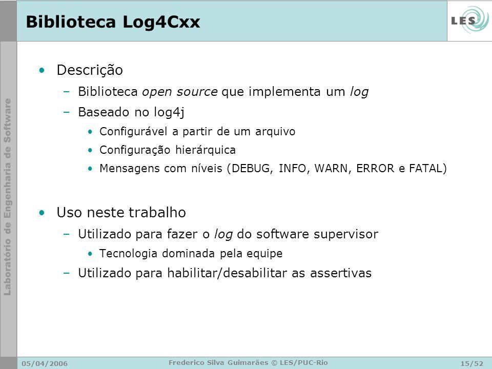 05/04/200615/52 Frederico Silva Guimarães © LES/PUC-Rio Biblioteca Log4Cxx Descrição –Biblioteca open source que implementa um log –Baseado no log4j C