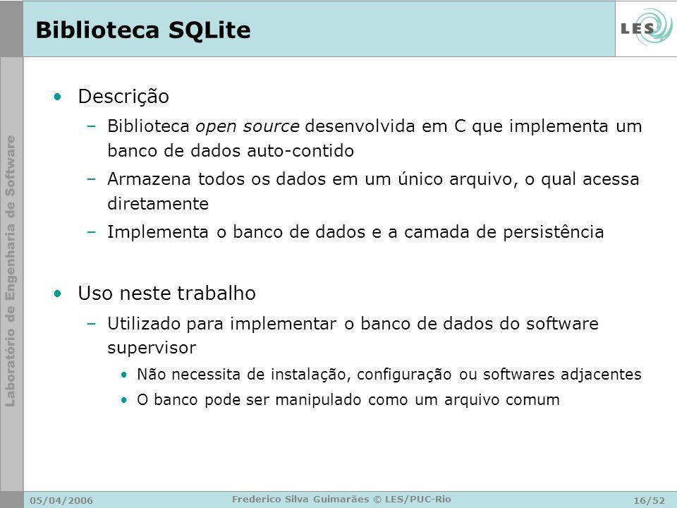 05/04/200616/52 Frederico Silva Guimarães © LES/PUC-Rio Biblioteca SQLite Descrição –Biblioteca open source desenvolvida em C que implementa um banco