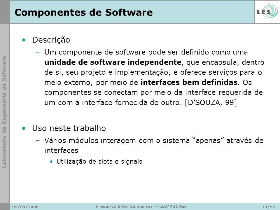 05/04/200619/52 Frederico Silva Guimarães © LES/PUC-Rio Componentes de Software Descrição –Um componente de software pode ser definido como uma unidad