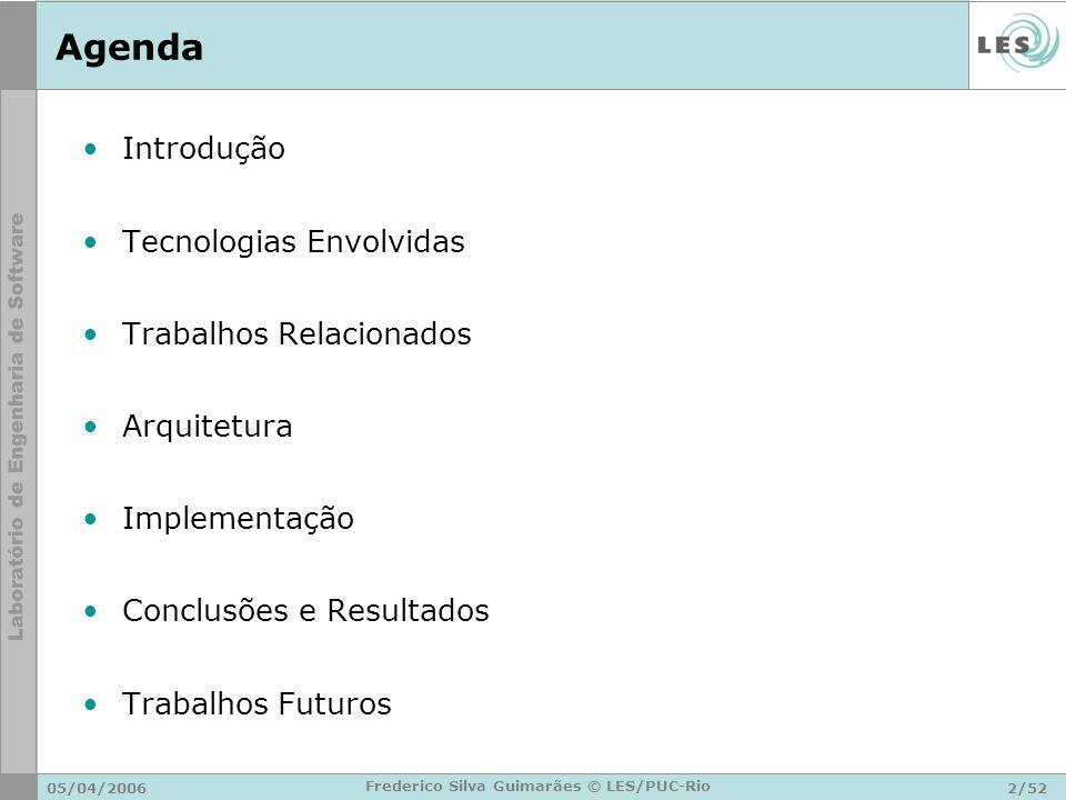 05/04/20062/52 Frederico Silva Guimarães © LES/PUC-Rio Agenda Introdução Tecnologias Envolvidas Trabalhos Relacionados Arquitetura Implementação Concl