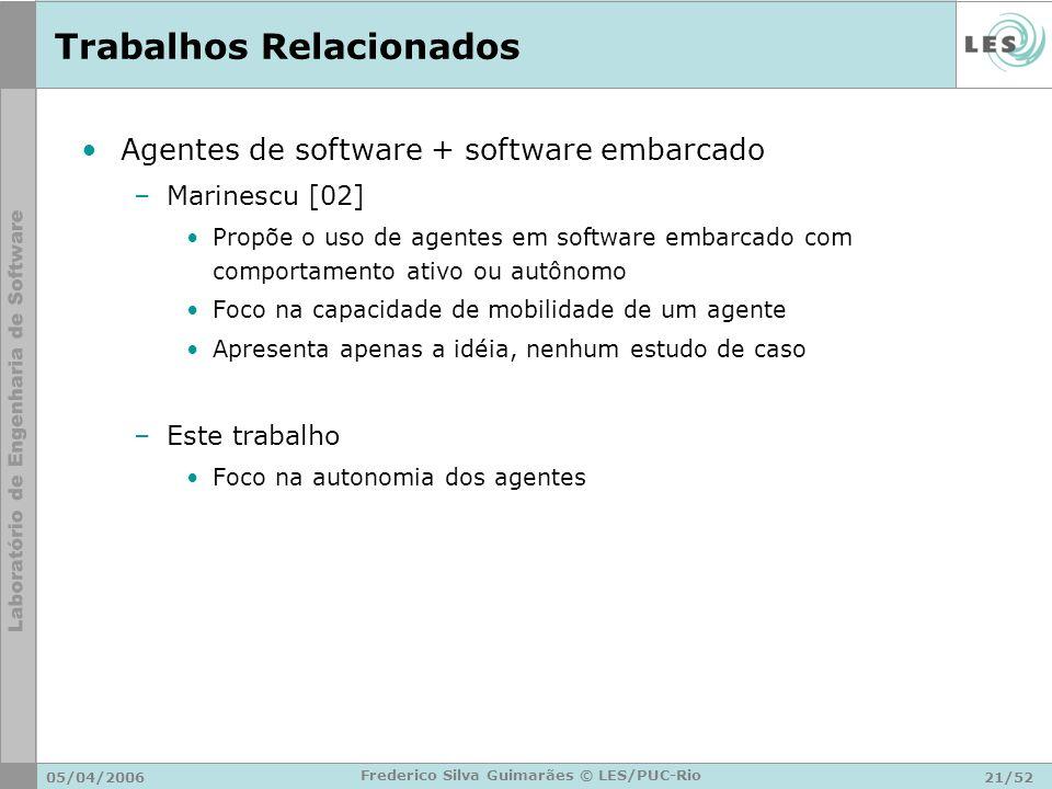 05/04/200621/52 Frederico Silva Guimarães © LES/PUC-Rio Trabalhos Relacionados Agentes de software + software embarcado –Marinescu [02] Propõe o uso d