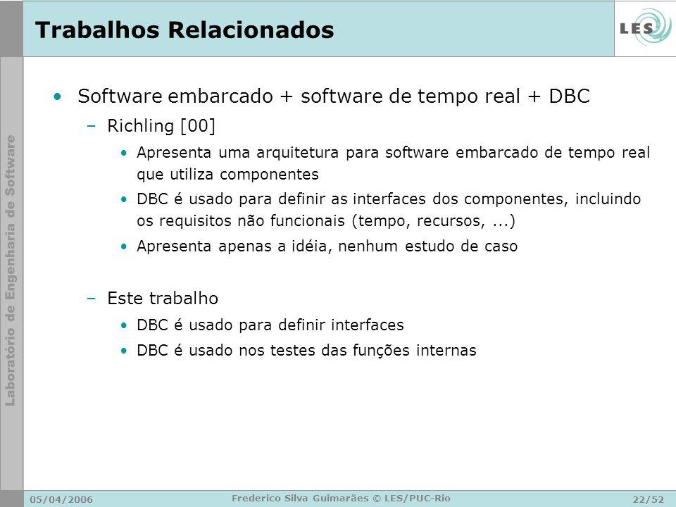 05/04/200622/52 Frederico Silva Guimarães © LES/PUC-Rio Trabalhos Relacionados Software embarcado + software de tempo real + DBC –Richling [00] Aprese