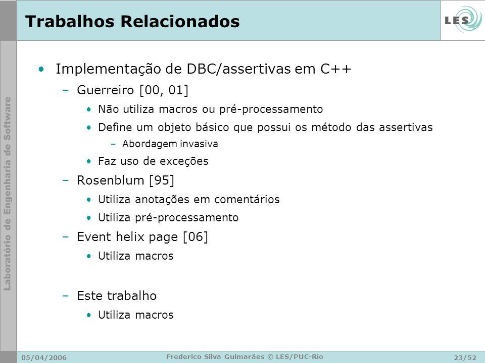 05/04/200623/52 Frederico Silva Guimarães © LES/PUC-Rio Trabalhos Relacionados Implementação de DBC/assertivas em C++ –Guerreiro [00, 01] Não utiliza