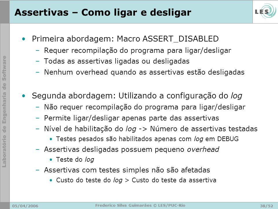 05/04/200638/52 Frederico Silva Guimarães © LES/PUC-Rio Assertivas – Como ligar e desligar Primeira abordagem: Macro ASSERT_DISABLED –Requer recompila