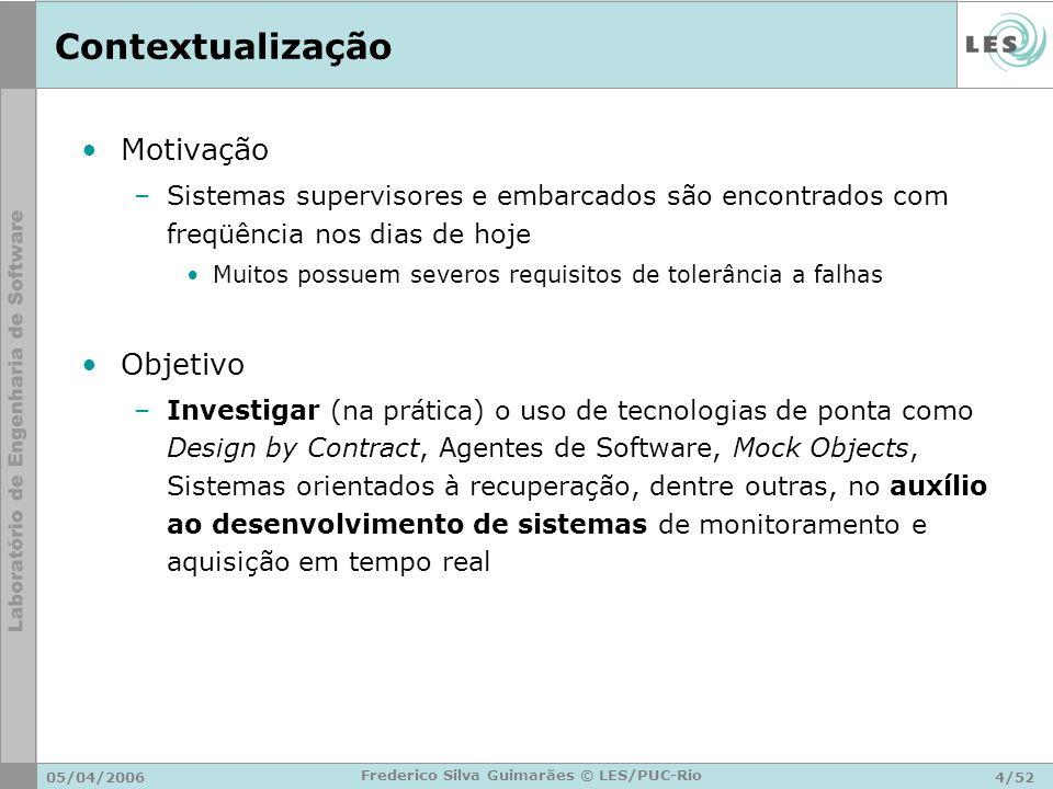 05/04/200625/52 Frederico Silva Guimarães © LES/PUC-Rio Arquitetura Geral Software Embarcado Ferramenta de Inspeção Software Supervisor Notebook ou PC Bluetooth