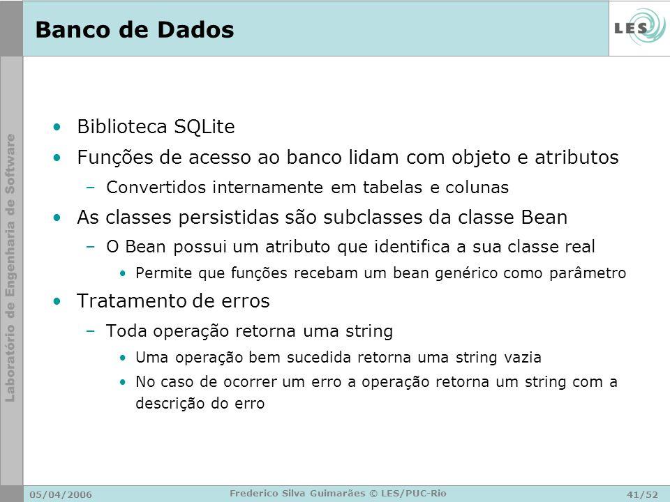 05/04/200641/52 Frederico Silva Guimarães © LES/PUC-Rio Banco de Dados Biblioteca SQLite Funções de acesso ao banco lidam com objeto e atributos –Conv