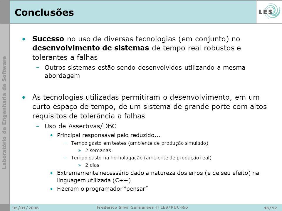 05/04/200646/52 Frederico Silva Guimarães © LES/PUC-Rio Conclusões Sucesso no uso de diversas tecnologias (em conjunto) no desenvolvimento de sistemas