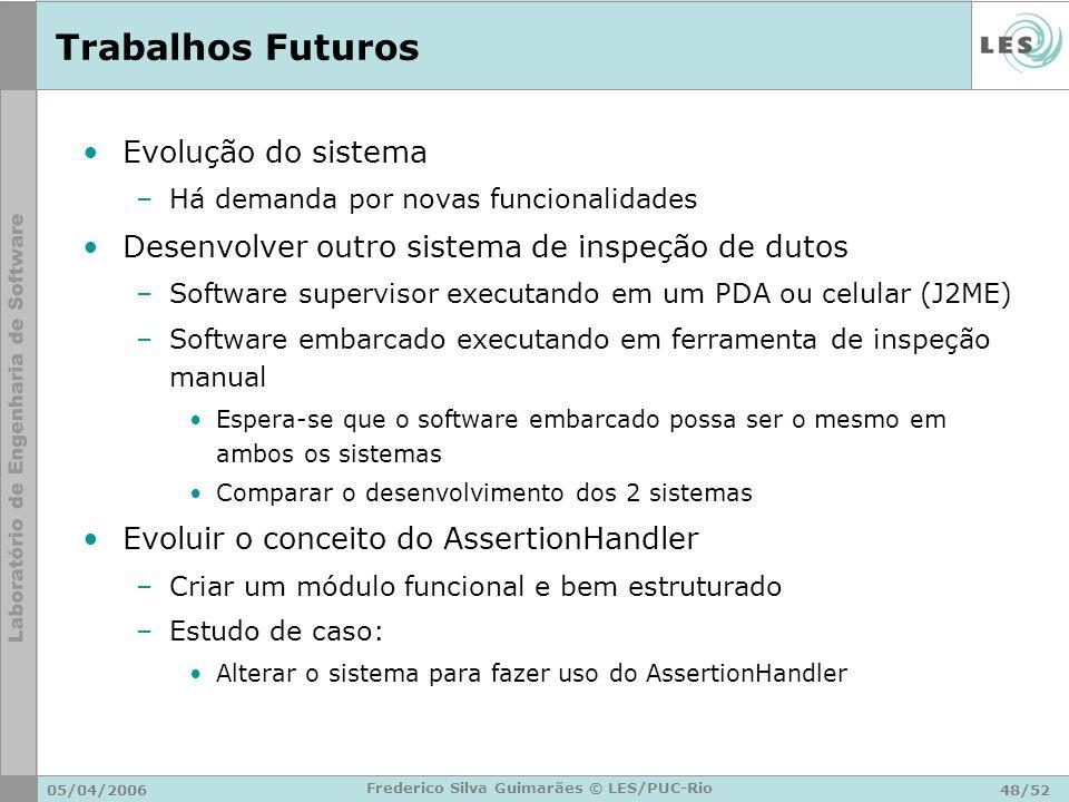 05/04/200648/52 Frederico Silva Guimarães © LES/PUC-Rio Trabalhos Futuros Evolução do sistema –Há demanda por novas funcionalidades Desenvolver outro