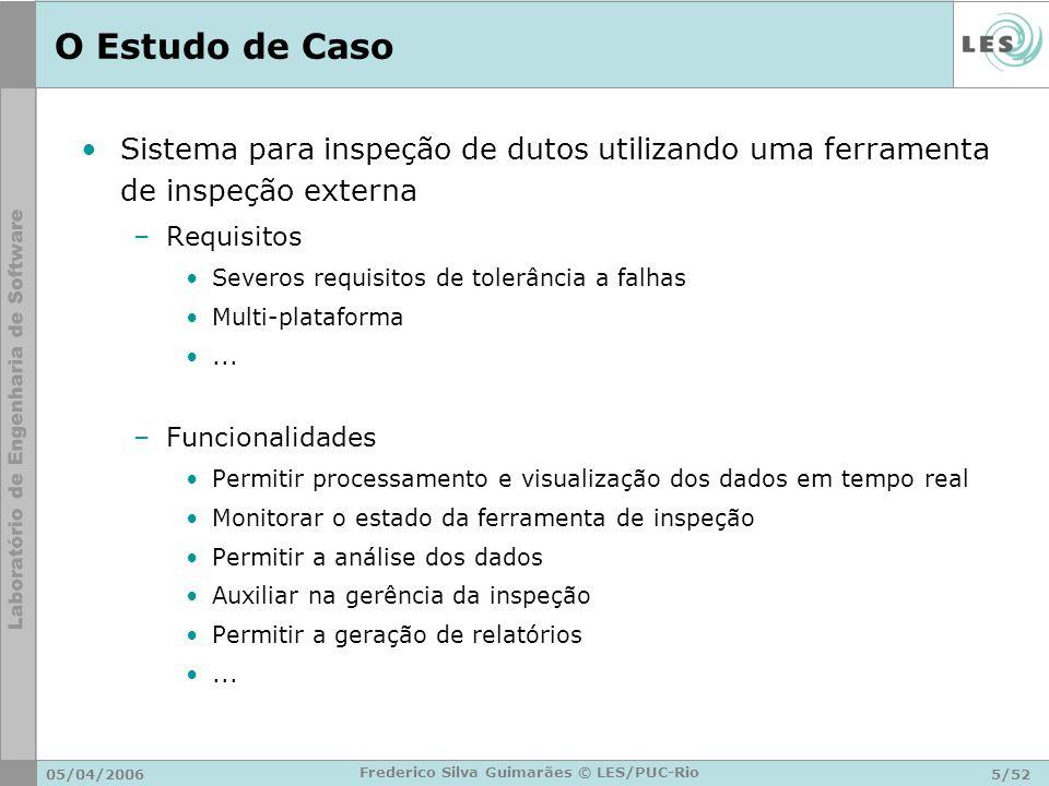 05/04/20065/52 Frederico Silva Guimarães © LES/PUC-Rio O Estudo de Caso Sistema para inspeção de dutos utilizando uma ferramenta de inspeção externa –
