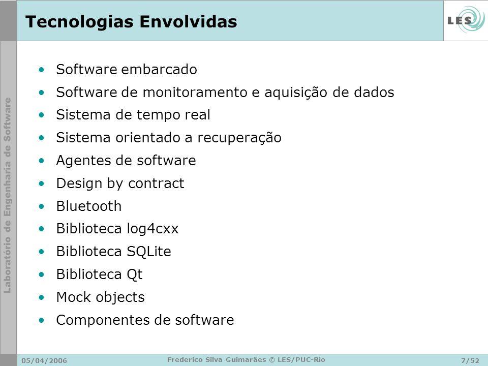 05/04/20067/52 Frederico Silva Guimarães © LES/PUC-Rio Tecnologias Envolvidas Software embarcado Software de monitoramento e aquisição de dados Sistem