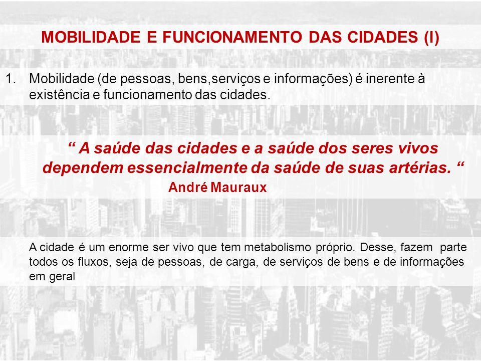 1.Mobilidade (de pessoas, bens,serviços e informações) é inerente à existência e funcionamento das cidades. MOBILIDADE E FUNCIONAMENTO DAS CIDADES (l)