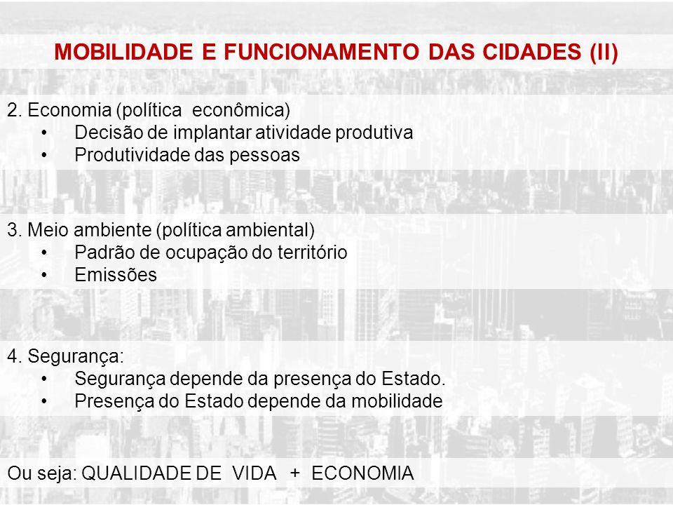 MOBILIDADE E FUNCIONAMENTO DAS CIDADES (ll) 2. Economia (política econômica) Decisão de implantar atividade produtiva Produtividade das pessoas 3. Mei