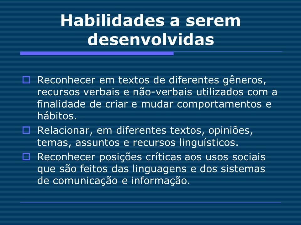 Habilidades a serem desenvolvidas Reconhecer em textos de diferentes gêneros, recursos verbais e não-verbais utilizados com a finalidade de criar e mu