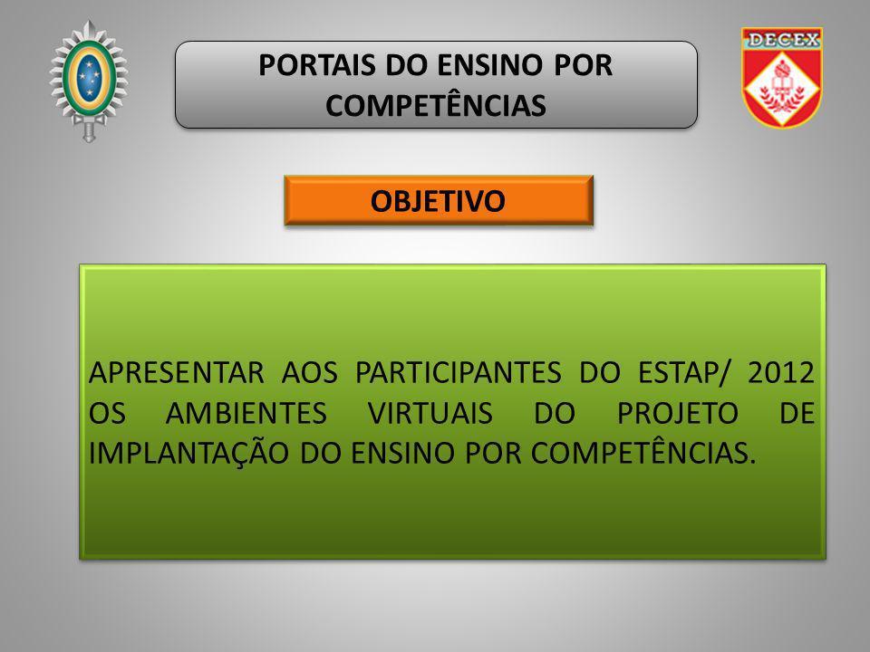 PORTAIS DO ENSINO POR COMPETÊNCIAS APRESENTAR AOS PARTICIPANTES DO ESTAP/ 2012 OS AMBIENTES VIRTUAIS DO PROJETO DE IMPLANTAÇÃO DO ENSINO POR COMPETÊNC