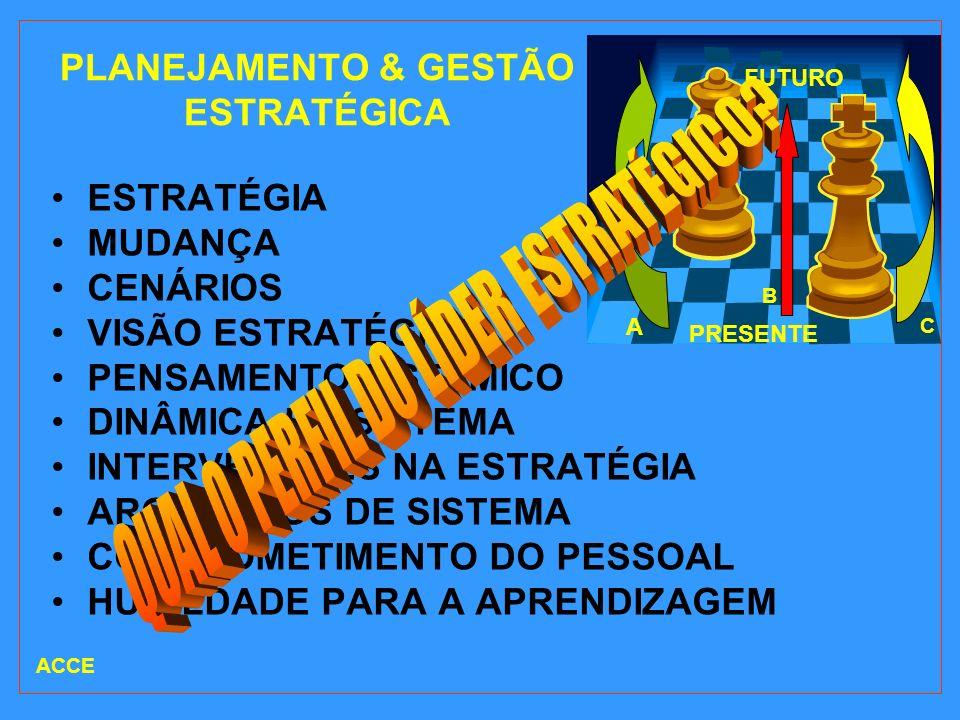 PLANEJAMENTO & GESTÃO ESTRATÉGICA ESTRATÉGIA MUDANÇA CENÁRIOS VISÃO ESTRATÉGICA PENSAMENTO SISTÊMICO DINÂMICA DO SISTEMA INTERVENÇÕES NA ESTRATÉGIA AR