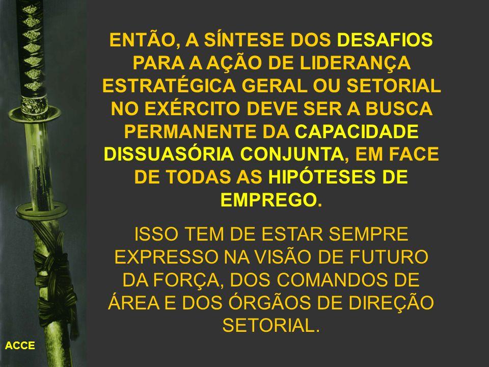 ACCE O CONCEITO DE DISSUASÃO MILITAR DEVE SITUAR O HORIZONTE DE CAPACITAÇÃO DAS FORÇAS ARMADAS AQUÉM DA GUERRA DE CONQUISTA (FORA DE COGITAÇÃO PARA O BRASIL) E ALÉM DA GUERRA DEFENSIVA.