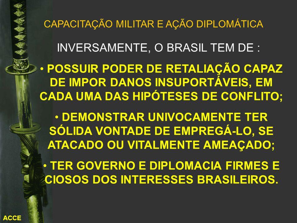 ACCE CAPACITAÇÃO MILITAR E AÇÃO DIPLOMÁTICA INVERSAMENTE, O BRASIL TEM DE : POSSUIR PODER DE RETALIAÇÃO CAPAZ DE IMPOR DANOS INSUPORTÁVEIS, EM CADA UM