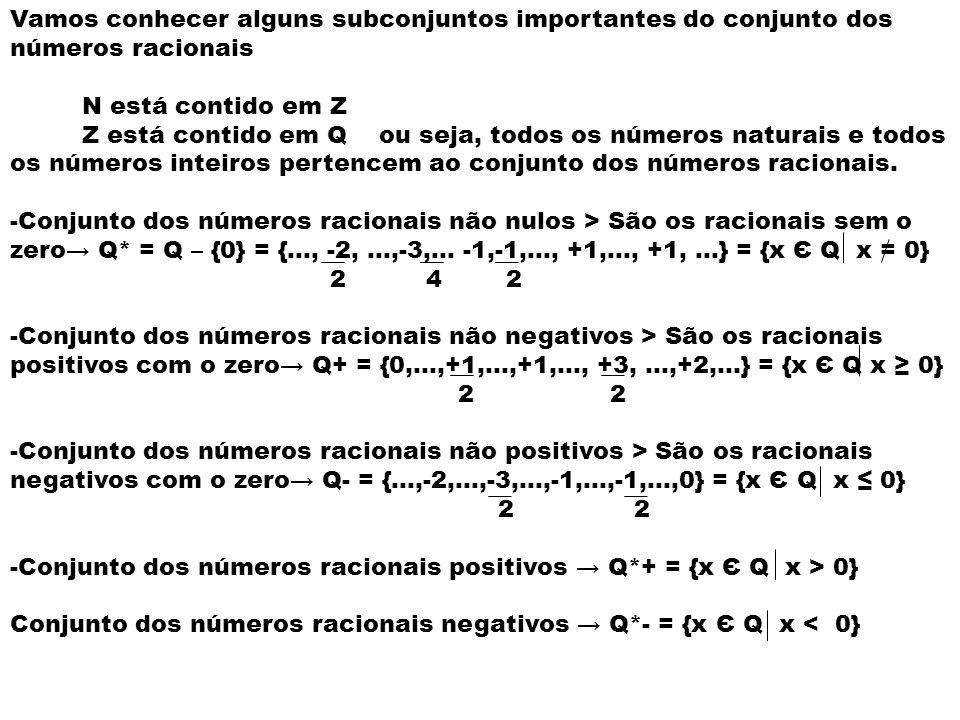 Vamos conhecer alguns subconjuntos importantes do conjunto dos números racionais N está contido em Z Z está contido em Q ou seja, todos os números nat