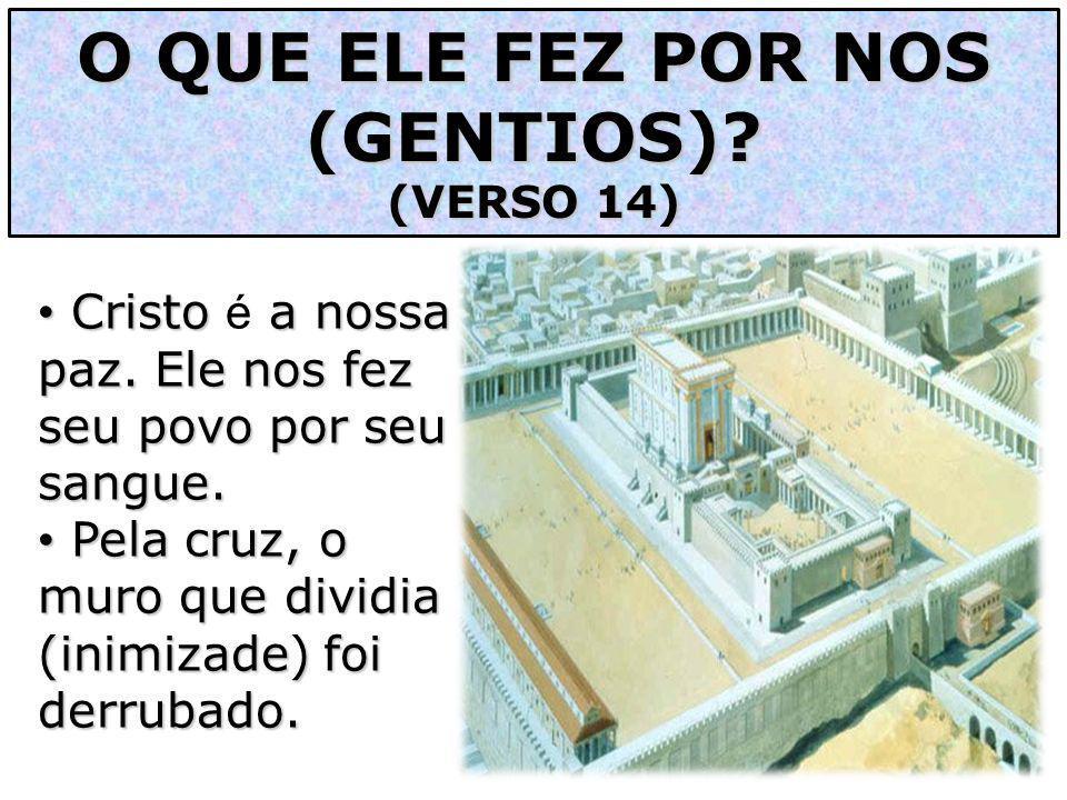 O QUE ELE FEZ POR NOS (GENTIOS)? (VERSO 14) Cristo a nossa paz. Ele nos fez seu povo por seu sangue. Cristo é a nossa paz. Ele nos fez seu povo por se