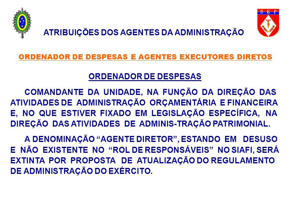 ORDENADOR DE DESPESAS COMANDANTE DA UNIDADE, NA FUNÇÃO DA DIREÇÃO DAS ATIVIDADES DE ADMINISTRAÇÃO ORÇAMENTÁRIA E FINANCEIRA E, NO QUE ESTIVER FIXADO E