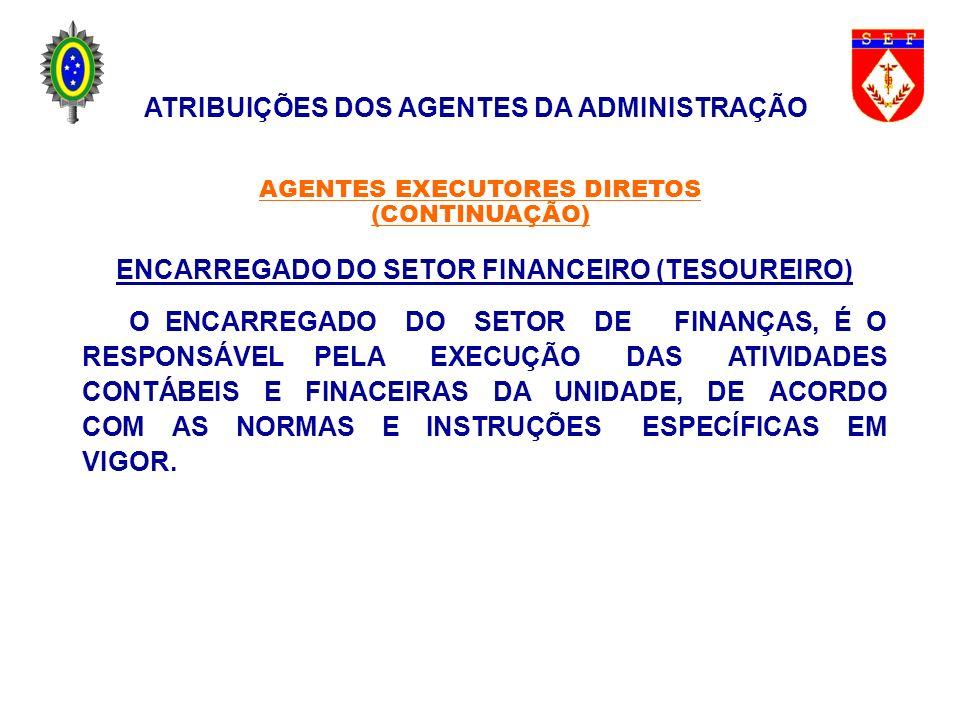 ENCARREGADO DO SETOR FINANCEIRO (TESOUREIRO) O ENCARREGADO DO SETOR DE FINANÇAS, É O RESPONSÁVEL PELA EXECUÇÃO DAS ATIVIDADES CONTÁBEIS E FINACEIRAS D