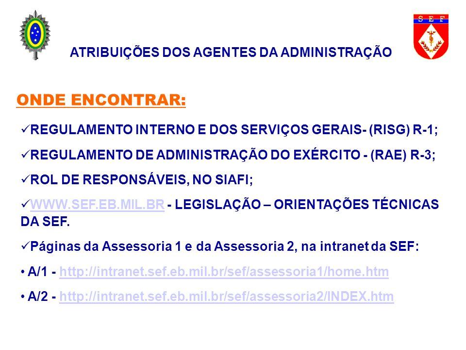 REGULAMENTO INTERNO E DOS SERVIÇOS GERAIS- (RISG) R-1; REGULAMENTO DE ADMINISTRAÇÃO DO EXÉRCITO - (RAE) R-3; ROL DE RESPONSÁVEIS, NO SIAFI; WWW.SEF.EB