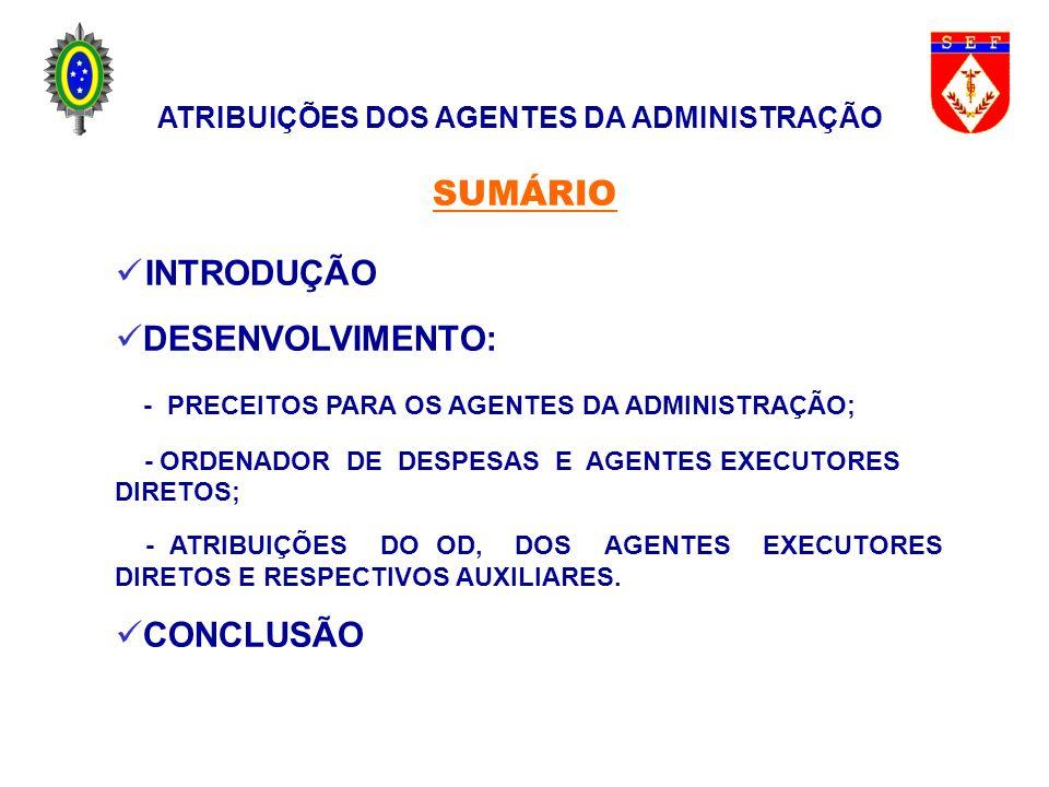 DIRIGIR OS TRABALHOS DE CONTABILIDADE E ESCRITURAÇÃO DE RECURSOS, EXECUTANDO-OS E FAZENDO SEUS AUXILIARES EXECUTÁ-LOS; ARRECADAR AS RENDAS DA UNIDADE E AS RECEITAS DA UNIÃO, DE ACORDO COM A LEGISLAÇÃO VIGENTE; PARTICIPAR AO FISCAL ADMINISTRATIVO, QUANDO SOLICITADO, A SITUAÇÃO FINANCEIRA DA UNIDADE; ATRIBUIÇÕES DOS AGENTES DA ADMINISTRAÇÃO ATRIBUIÇÕES DO ENCARREGADO DO SETOR FINANCEIRO ( DENTRE OUTRAS )