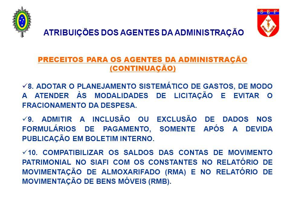 ATRIBUIÇÕES DO ORDENADOR DE DESPESAS (DENTRE OUTRAS) ASSINAR DOCUMENTOS DE NATUREZA ADMINISTRATIVA DA SUA COMPETÊNCIA, BEM COMO AUTENTICAR AQUELES DE RESPONSABILIDADE DOS DEMAIS AGENTES; EXERCER A FISCALIZAÇÃO DIRETA SOBRE A ESCRITURAÇÃO ORÇAMENTARIA, FINANCEIRA E PATRIMONIAL DA UNIDADE; FORMALIZAR E ASSINAR CONTRATOS, DE ACORDO COM A LEGISLAÇAÕ PRÓPRIA, DECORRENTES DAS LICITAÇÕES; ATRIBUIÇÕES DOS AGENTES DA ADMINISTRAÇÃO