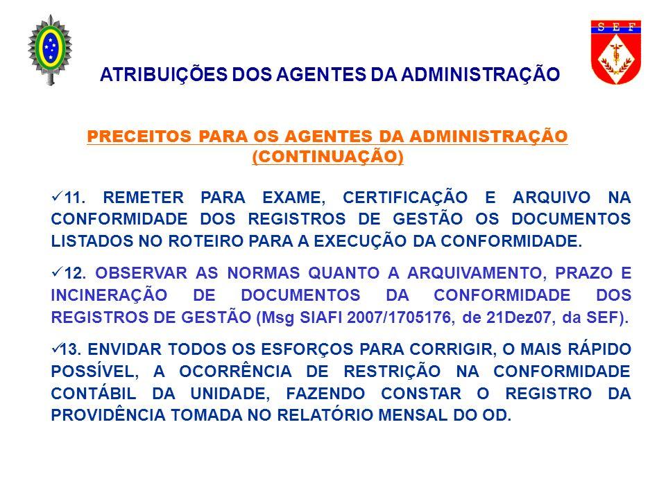 11. REMETER PARA EXAME, CERTIFICAÇÃO E ARQUIVO NA CONFORMIDADE DOS REGISTROS DE GESTÃO OS DOCUMENTOS LISTADOS NO ROTEIRO PARA A EXECUÇÃO DA CONFORMIDA