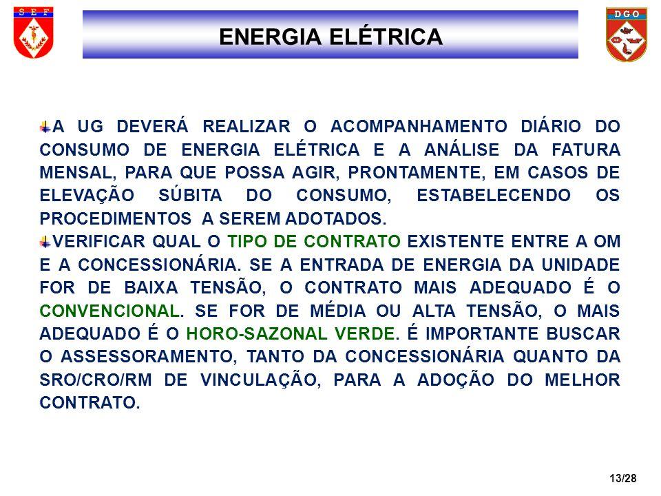 14/28 INFORMAR PRONTAMENTE À DGO, QUANDO ALGUM FATO CAUSAR UM AUMENTO EXTRAORDINÁRIO NO CONSUMO DE ENERGIA, PRINCIPALMENTE O RELACIONADO COM A ENERGIA REATIVA.