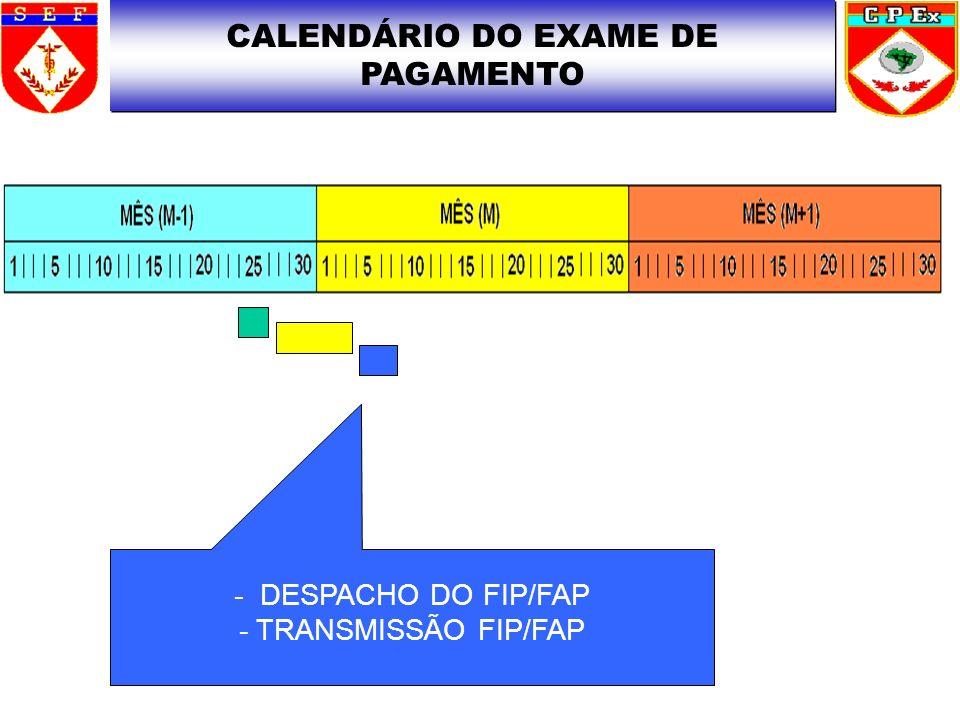 CALENDÁRIO DO EXAME DE PAGAMENTO - DESPACHO DO FIP/FAP - TRANSMISSÃO FIP/FAP