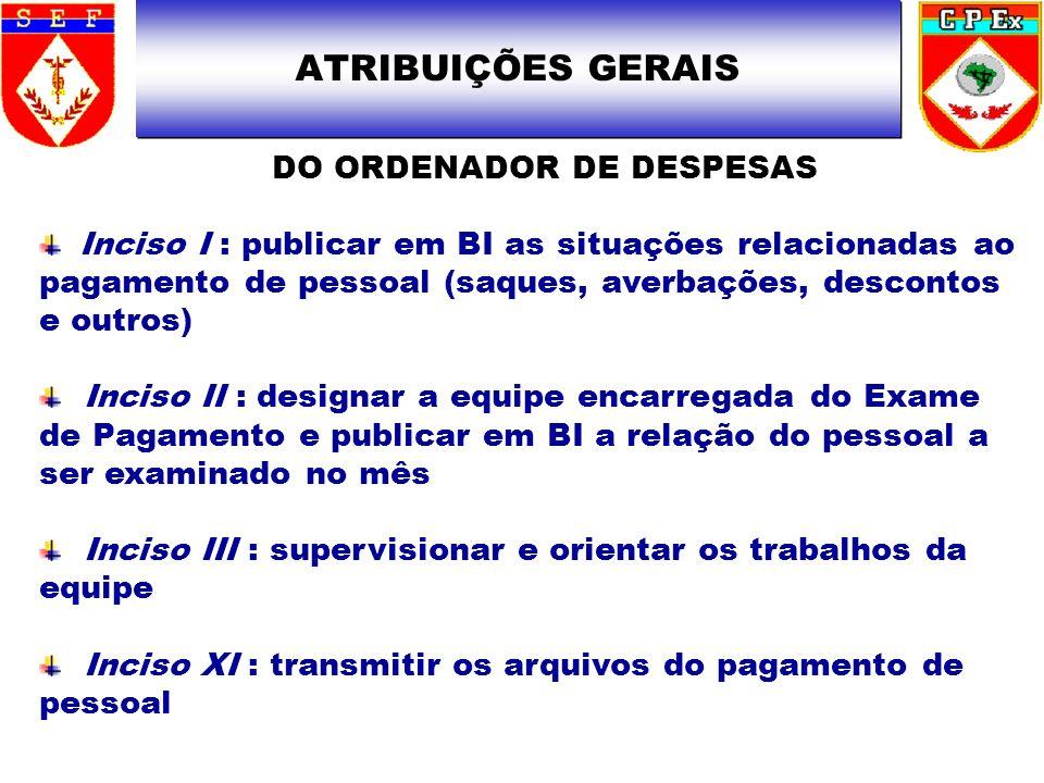 DO ORDENADOR DE DESPESAS Inciso I : publicar em BI as situações relacionadas ao pagamento de pessoal (saques, averbações, descontos e outros) Inciso I
