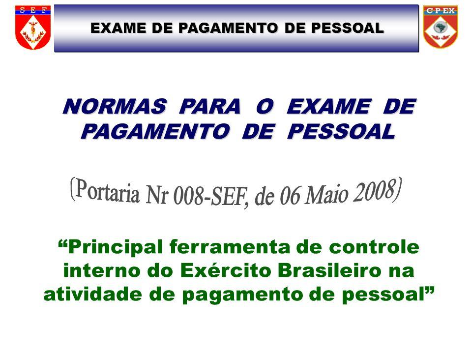 NORMAS PARA O EXAME DE PAGAMENTO DE PESSOAL Principal ferramenta de controle interno do Exército Brasileiro na atividade de pagamento de pessoal EXAME