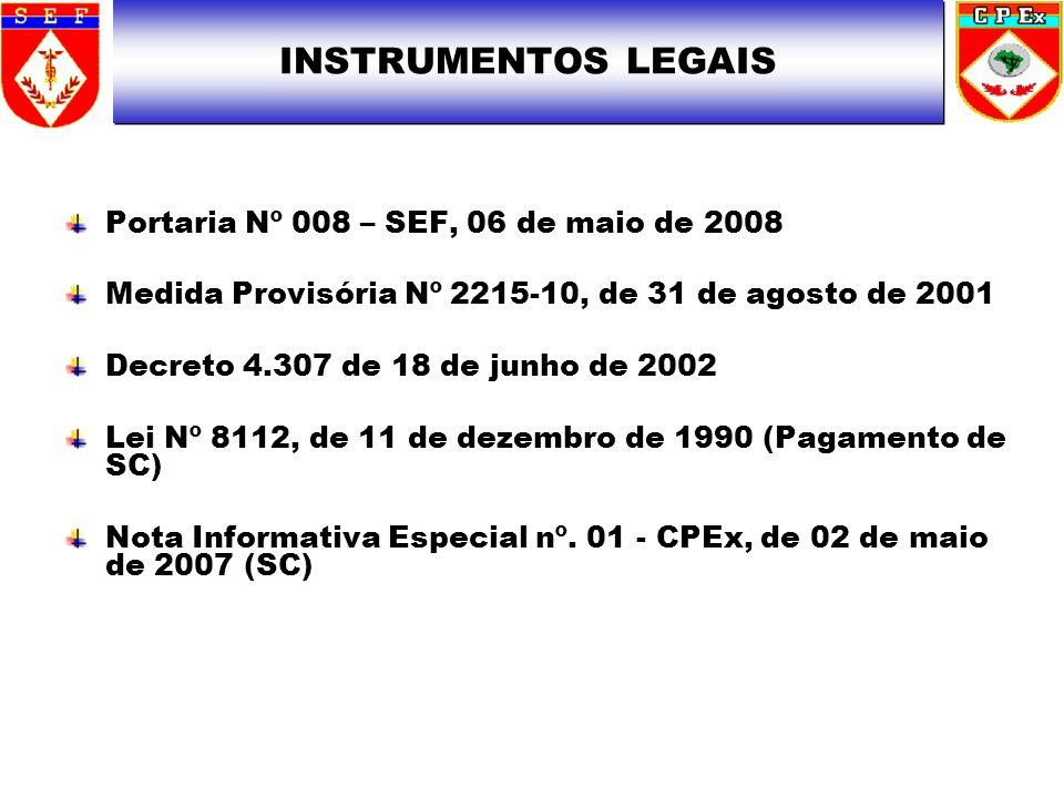 Portaria Nº 008 – SEF, 06 de maio de 2008 Medida Provisória Nº 2215-10, de 31 de agosto de 2001 Decreto 4.307 de 18 de junho de 2002 Lei Nº 8112, de 1