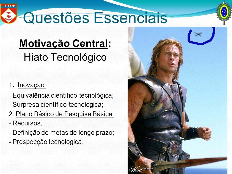 Questões Essenciais Motivação Central: Hiato Tecnológico 1. Inovação: - Equivalência científico-tecnológica; - Surpresa científico-tecnológica; 2. Pla