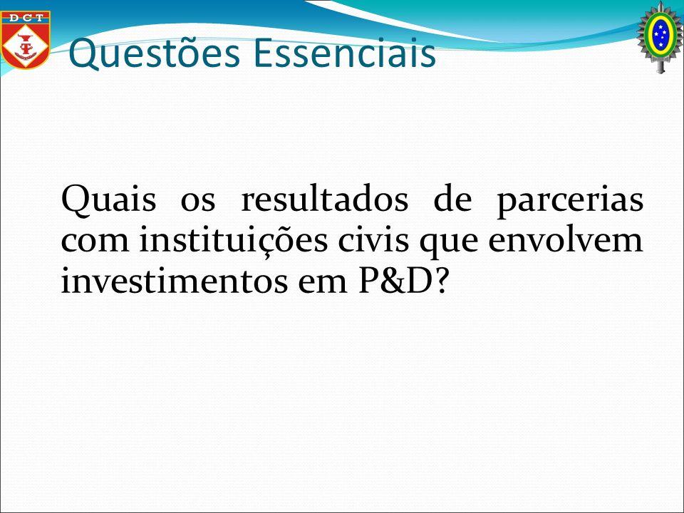 Questões Essenciais Quais os resultados de parcerias com instituições civis que envolvem investimentos em P&D?