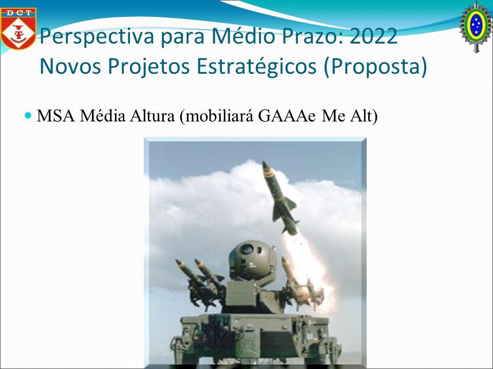 Perspectiva para Médio Prazo: 2022 Novos Projetos Estratégicos (Proposta) MSA Média Altura (mobiliará GAAAe Me Alt)