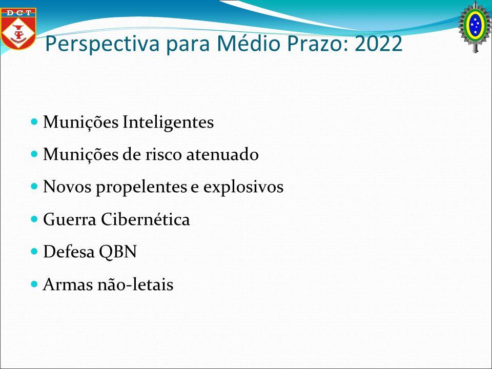 Perspectiva para Médio Prazo: 2022 Munições Inteligentes Munições de risco atenuado Novos propelentes e explosivos Guerra Cibernética Defesa QBN Armas