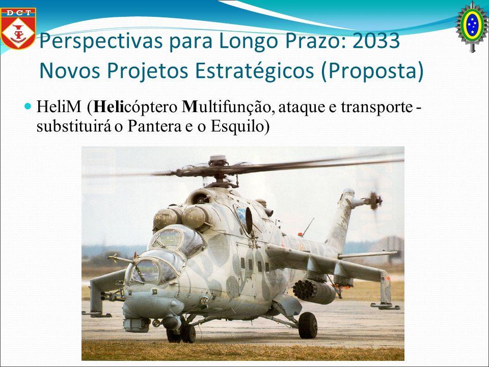 Perspectivas para Longo Prazo: 2033 Novos Projetos Estratégicos (Proposta) HeliM (Helicóptero Multifunção, ataque e transporte - substituirá o Pantera