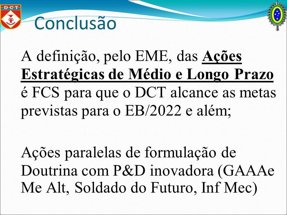 Conclusão A definição, pelo EME, das Ações Estratégicas de Médio e Longo Prazo é FCS para que o DCT alcance as metas previstas para o EB/2022 e além;