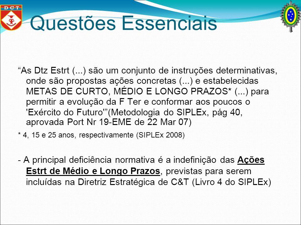 Questões Essenciais As Dtz Estrt (...) são um conjunto de instruções determinativas, onde são propostas ações concretas (...) e estabelecidas METAS DE
