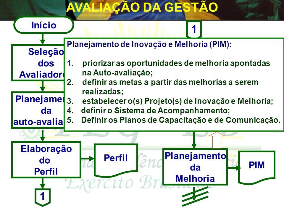 Início Seleção dos Avaliadores Planejamento da Melhoria Auto- Avaliação Elaboração do Perfil Validação Planejamento da Auto-avaliação Perfil PIM 1 1
