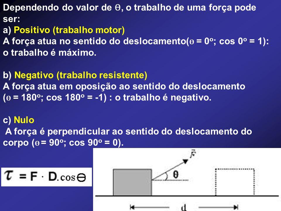Dependendo do valor de Ɵ, o trabalho de uma força pode ser: a) Positivo (trabalho motor) A força atua no sentido do deslocamento( Ɵ = 0 o ; cos 0 o =