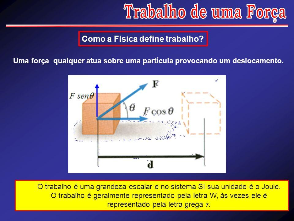 Como a Física define trabalho? Uma força qualquer atua sobre uma partícula provocando um deslocamento. O trabalho é uma grandeza escalar e no sistema